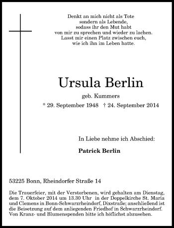 Zur Gedenkseite von Ursula