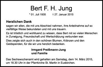 Zur Gedenkseite von Bert F. H.